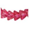 Glass Bead Flower Bell Button 6X8mm 2-tone Pink - Strung